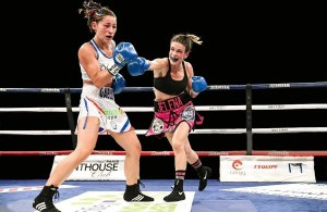 Mrdjenovich lands a right Saturday night in France. (Photo: Anthony Dibon/Icon Sport)