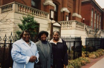 Mary Hall, Mary Judd and Lucy Stokes, three of WAF co-founders outside St. Aloysius Church
