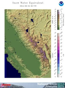 Sierra Nevada snow water equivalent as of June 1, 2014: virtually nothing left. (NOAA/NWS)