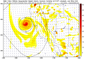 The NAM depicts a well-defined low pressure center and associated vorticity maximum just west of San Francisco. (NCEP via Levi Cowan)