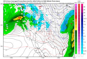 A fairly robust system is expect to swing into NorCal from the northwest on Sunday. (NCEP via tropicaltidbits.com)