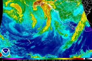 An active storm track can be seen in satellite imagery developing over the Eastern Pacific. (NOAA)