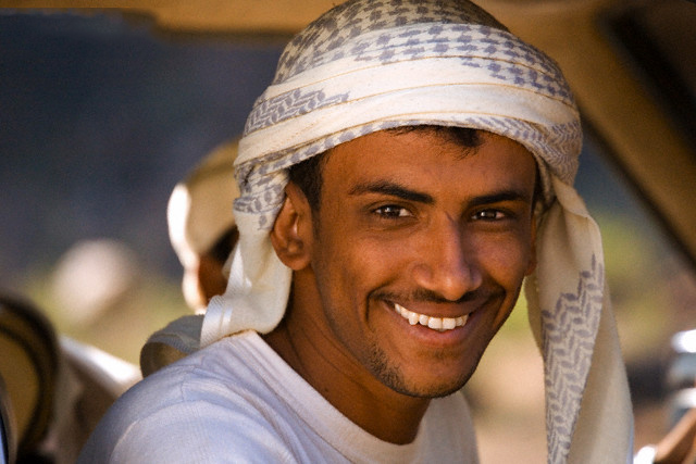 Socotran man wearing the traditional head scarf, Socotra Island, Yemen