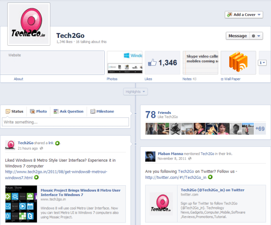 Tech2Go Facebook Page Timeline View1 Facebook Timeline Design is Now Available For Facebook Pages