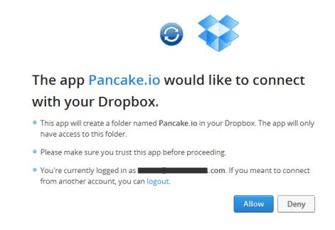 Give Dropbox permission to Pancake.io