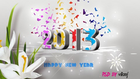 2013 year wallpaper with psd by vikraj by vikraj d5ly7id Download Happy New Year 2013 Wallpaper for Desktop, iPad, Mobile