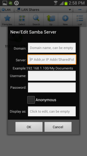 add server details How to Access Computer Files from Android Phone Wirelessly