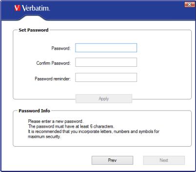 Verbatim EasyLock set up password