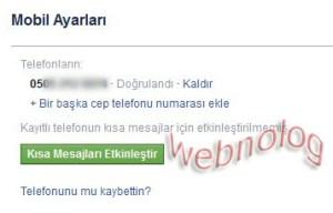 Facebook telefon numarası ekleme