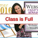 Class is Closed for the Website Creation Workshop Summer 2016 Program