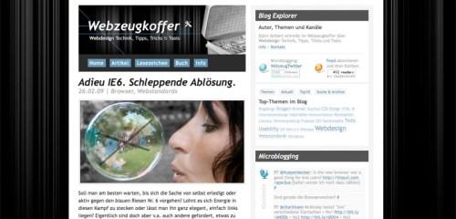 Webzeugkoffer Startseite im Februar 2009