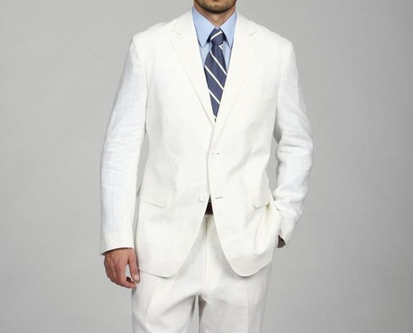 Men's White Linen Suit