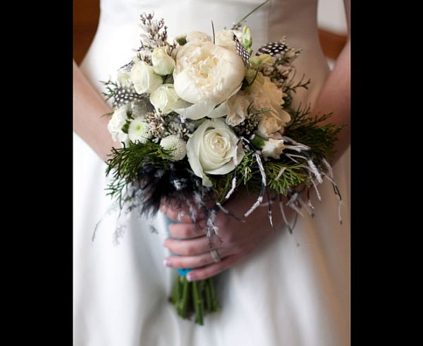 Rose and peacock feather bouquet