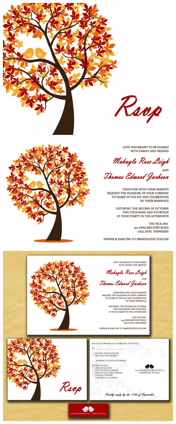 amazing colors for fall wedding invitations autumn wedding invitations Fall Wedding Invitations Kits Printable Autumn Wedding invitations