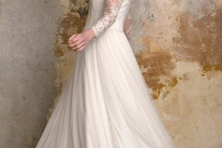 sally la bridal 2015 sylvie 1950s vintage style wedding dress illusion neckline long sleeves side view twirl