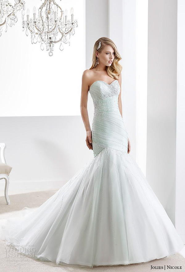 nicole jolies 2016 wedding dresses strapless sweetheart neckline beaded pastel green pretty mermaid wedding dress joab16424