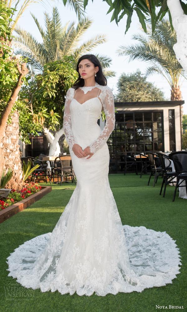 Noya bridal wedding dresses by riki dalal valeria for Long sleeve wedding dress topper