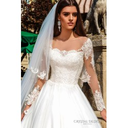 Smashing Crystal Design Bridal 2016 Illusion Long Sleeves Heart Neckline Lace Bodice Princess Ball Gown Wedding Dress Chapel Train Alika Zv Lace Sleeve Wedding Dress Pattern Lace Sleeve Wedding Dress