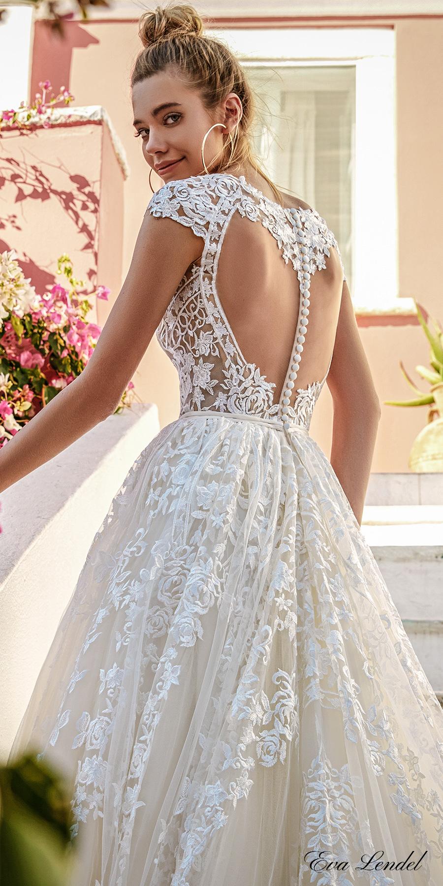 eva lendel 2017 bridal cap sleeves off the shoulder scoop neck full embellishment romantic priincess a line wedding dress keyhole back chapel train (perry) zbv