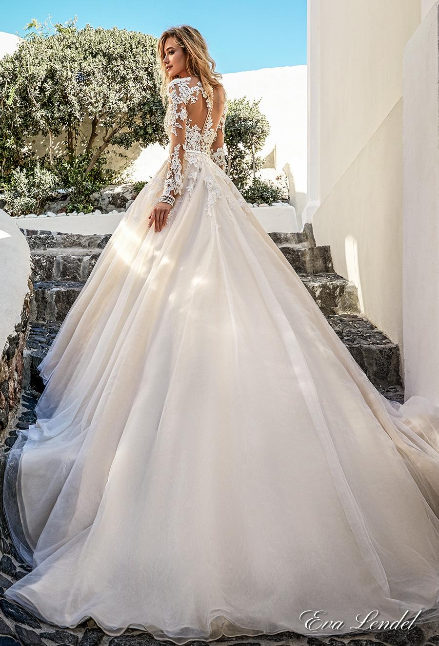 eva lendel 2017 bridal long sleeves v neck heavily embellished bodice romantic princess ivory a line wedding dress illusion lace back chapel train (allen) bv