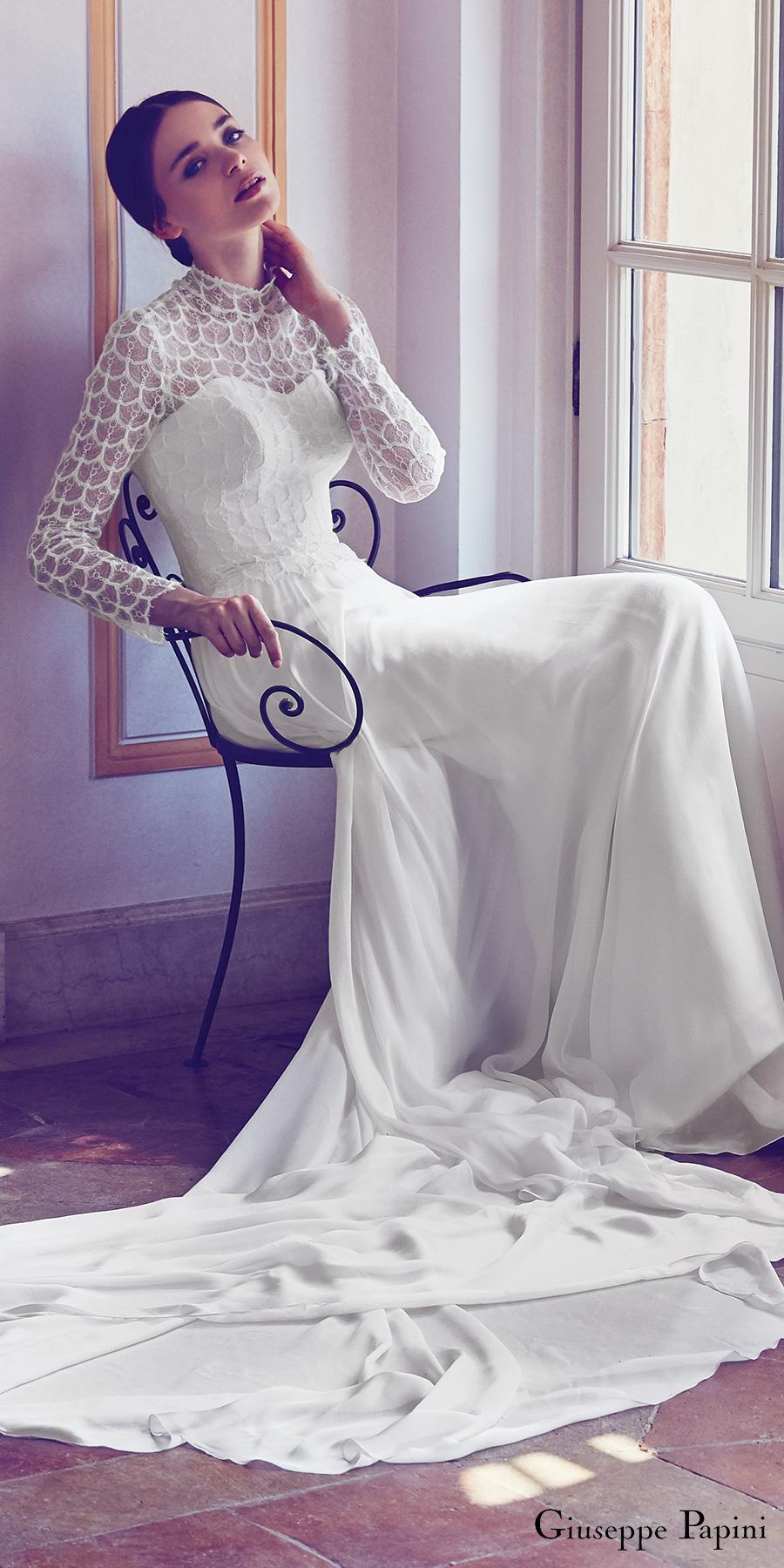 giuseppe papini 2017 (amalfi) long sleeves illusion high neck sweetheart lace bodice a line wedding dress mv train
