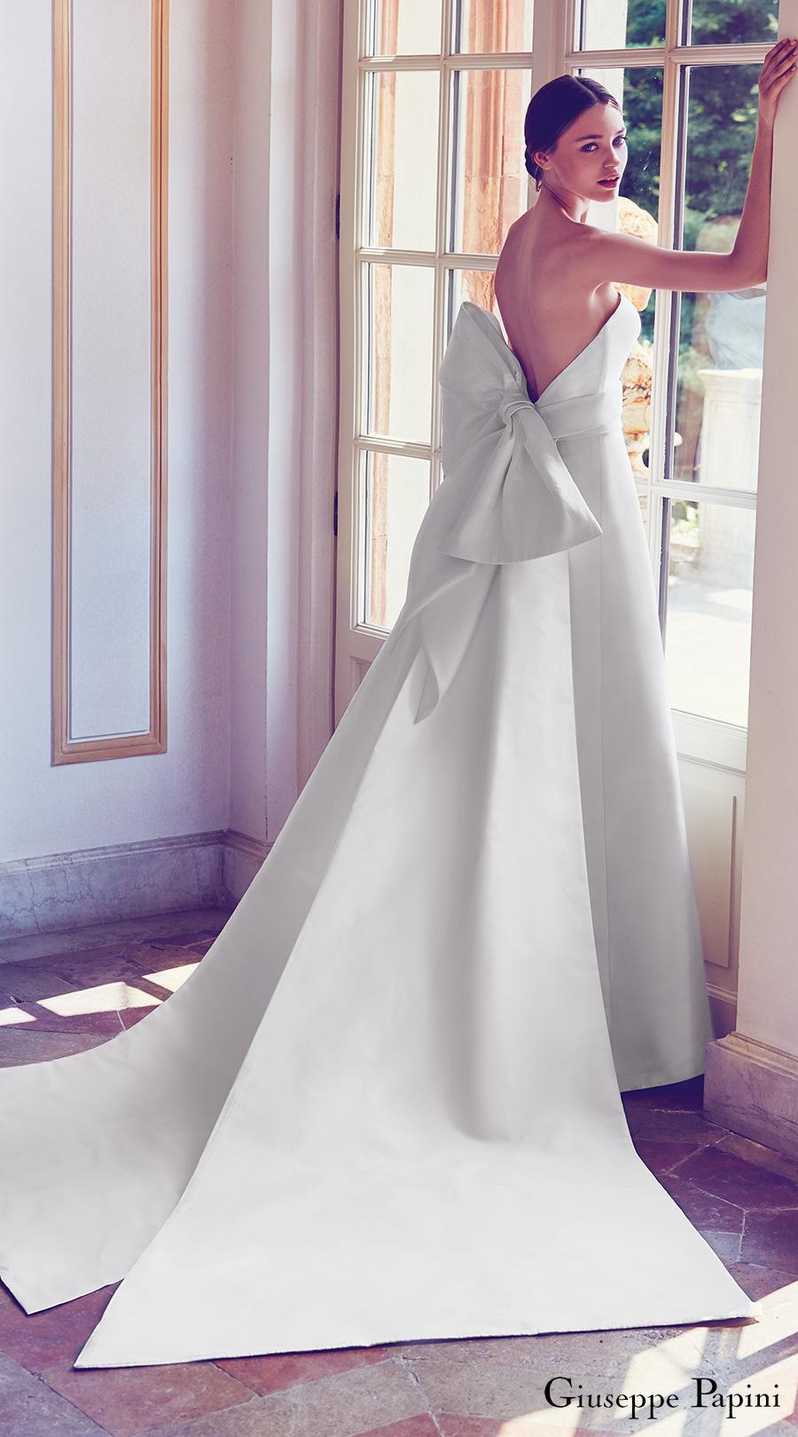 giuseppe papini 2017 (porto venere) strapless minimally embellished a line wedding dress large bow low back mv