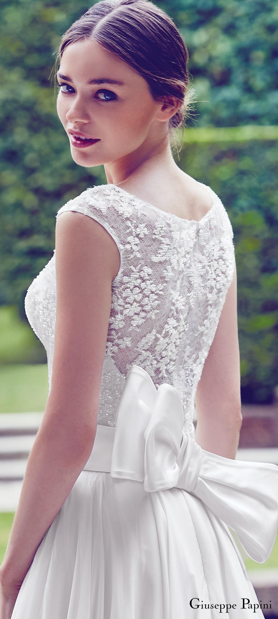 giuseppe papini 2017 (portofino) cap sleeve illusion back a line wedding dress bv romantic bow