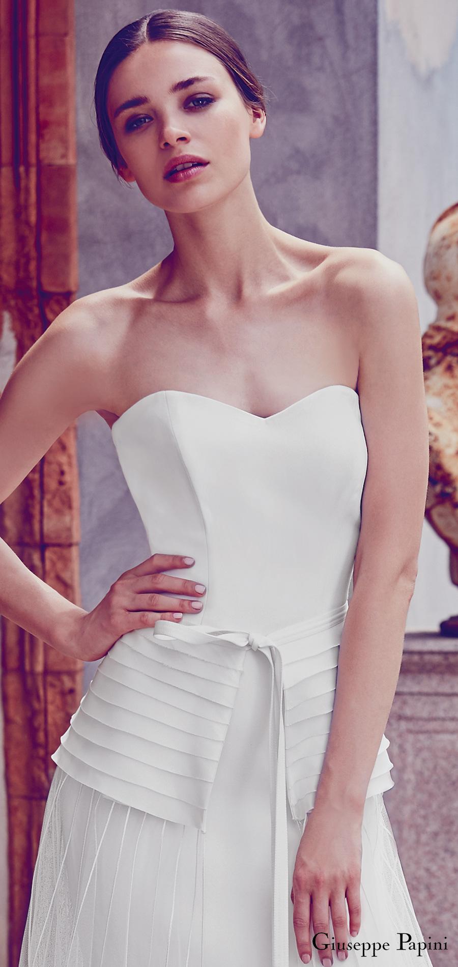 giuseppe papini 2017 (positano) strapless sweetheart sheath wedding dress tulle overskirt zv pleated peplum