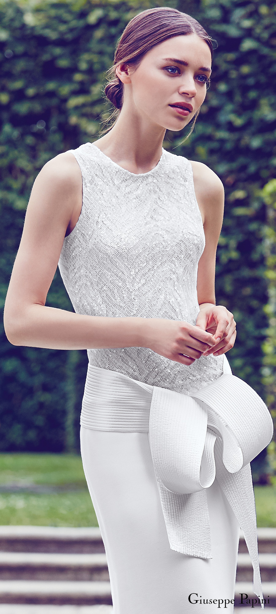 giuseppe papini 2017 (verona) sleeveless jewel neck embellished bodice sheath wedding dress zv modern sash