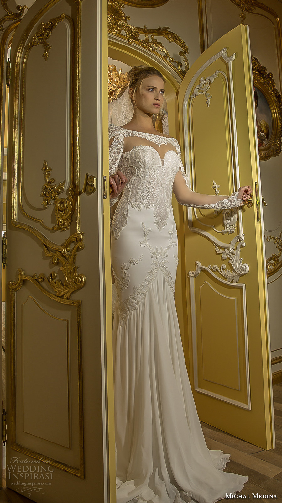 michal medina 2017 bridal long sleeves illusion beateau sweetheart neckline heavily embellished bodice elegant sheath fit flare wedding dress open low back chapel train (emma) mv