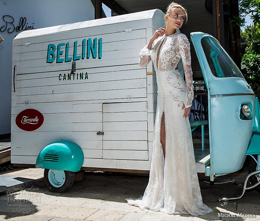 michal medina 2017 bridal long sleeves jewel neckline keyhole heavily embellished bodice high middle slit elegant sexy sheath wedding dress keyhole back sweep train (nicole) mv