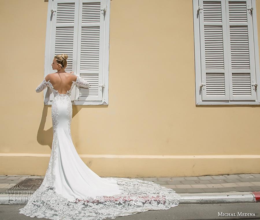 michal medina 2017 bridal off the shoulder long sleeves deep plunging sweetheart neckline heavily embellished bodice elegant sheath wedding dress open low back chapel train (audrey) bv
