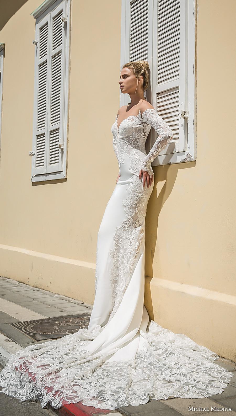 michal medina 2017 bridal off the shoulder long sleeves deep plunging sweetheart neckline heavily embellished bodice elegant sheath wedding dress open low back chapel train (audrey) sdv