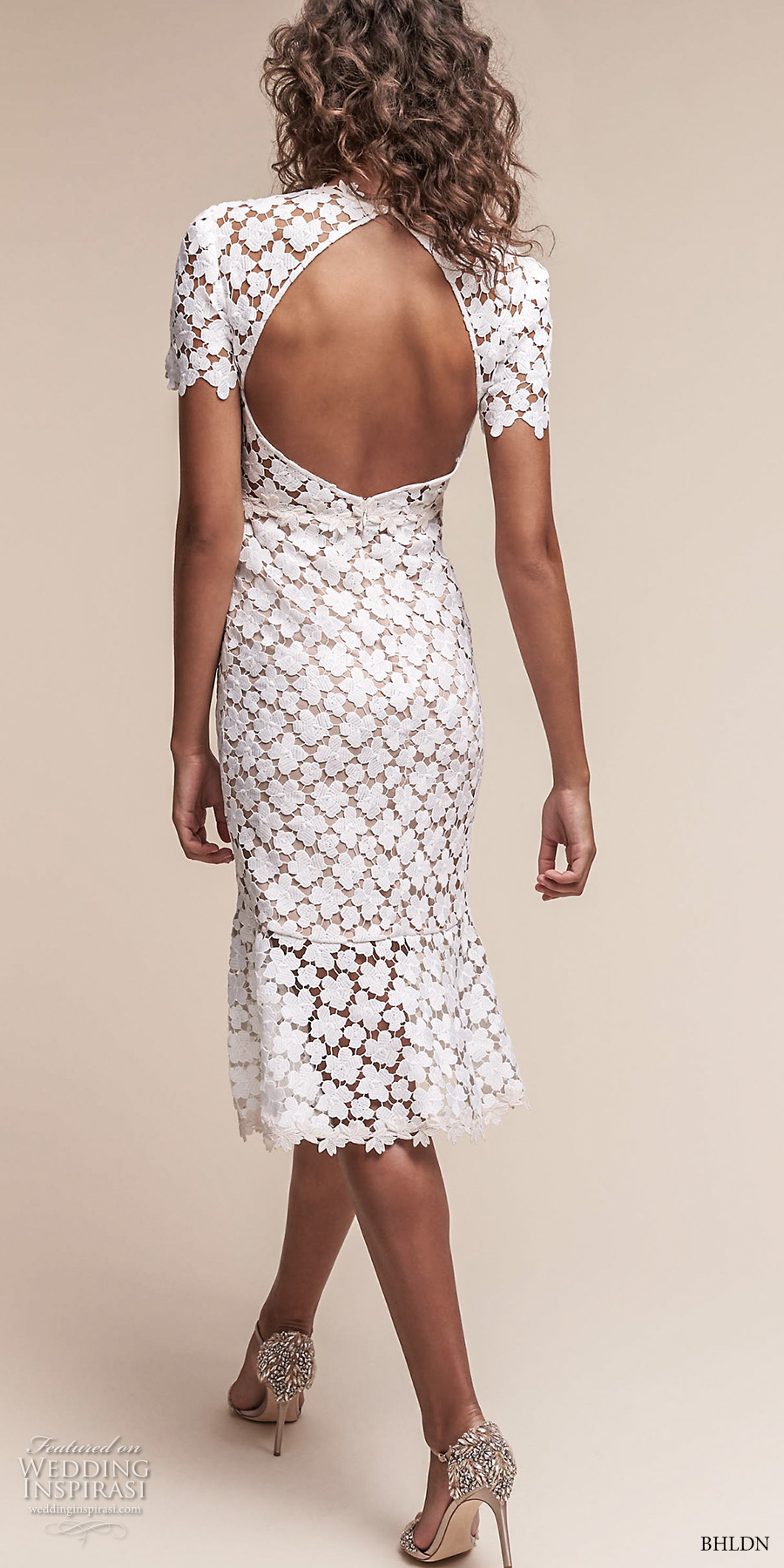 bhldn spring 2017 bridal short sleeves jewel neck full embellishment romantic below the knee short wedding dress keyhole back (lowri) bv