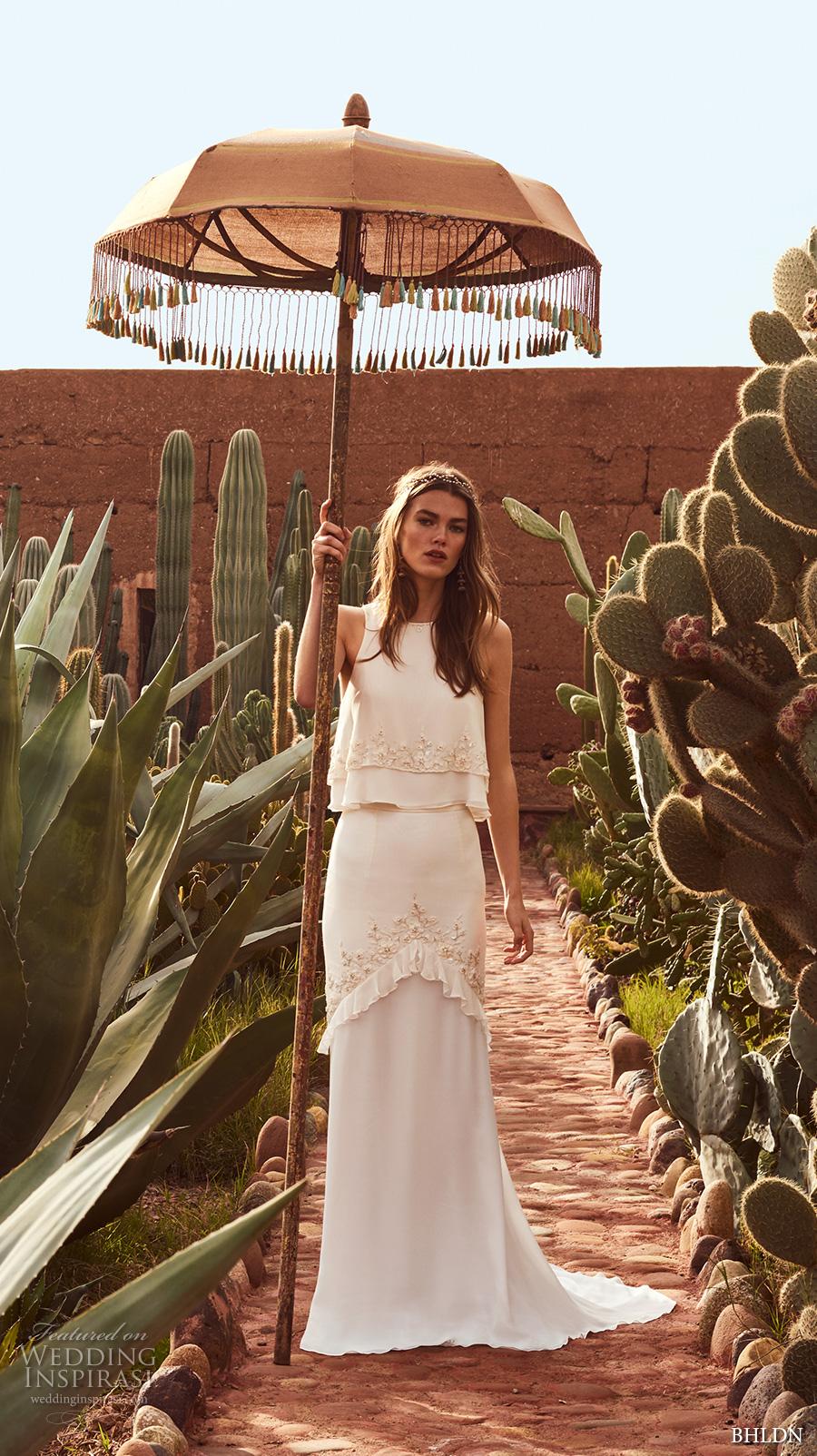 bhldn spring 2017 bridal sleeveless jewel neckline lightly embellished 2 piece elegant bohemian column wedding dress short train (allegra) mv