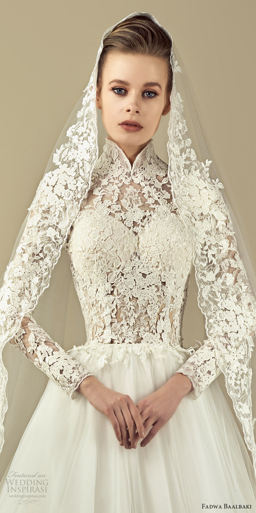 fadwa baalbaki spring 2017 couture illusion long sleeves high neck lace a line wedding dress (11) zfv