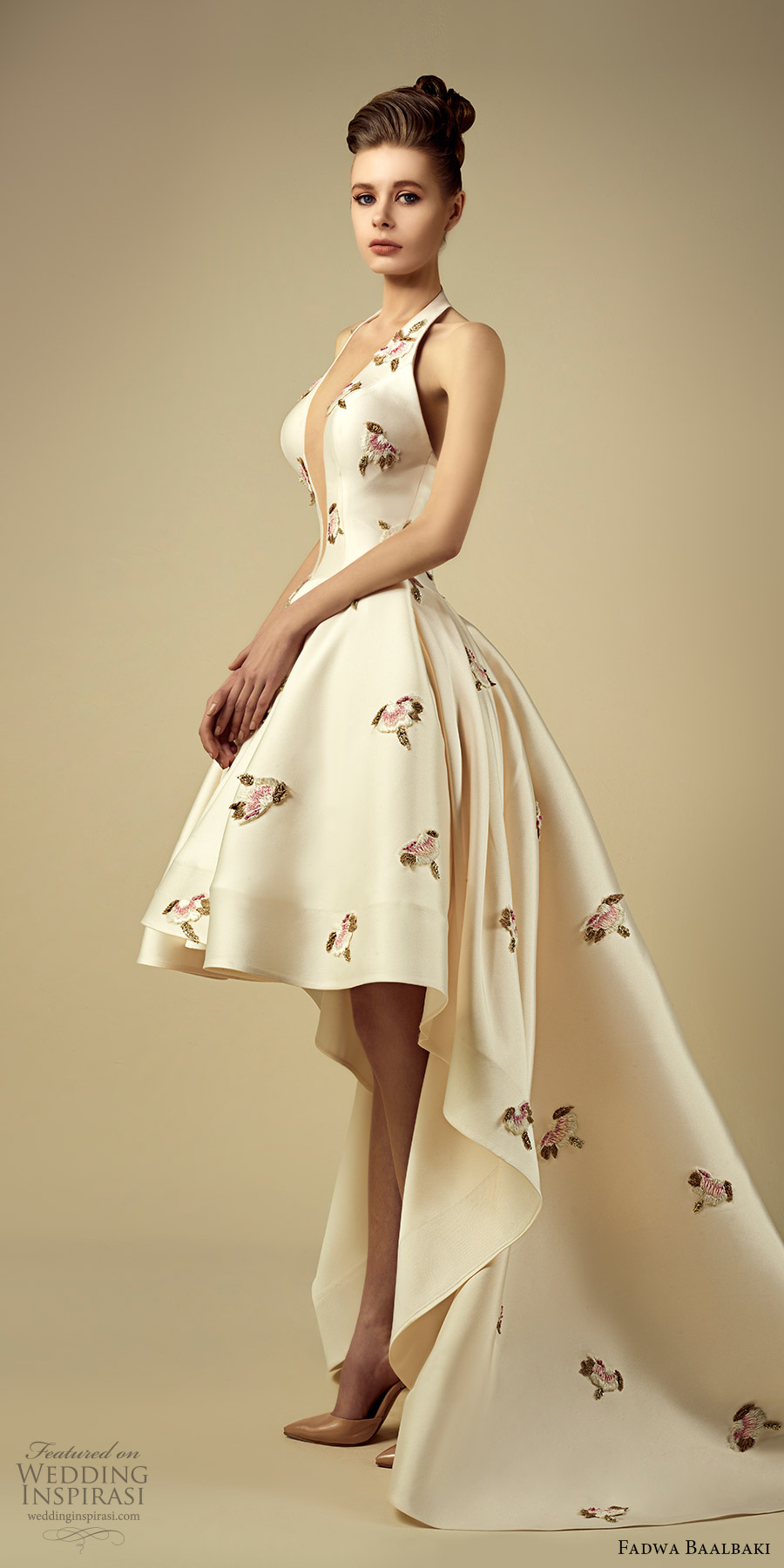 fadwa baalbaki spring 2017 couture sleeveless high low a line floral gown (4) mv train