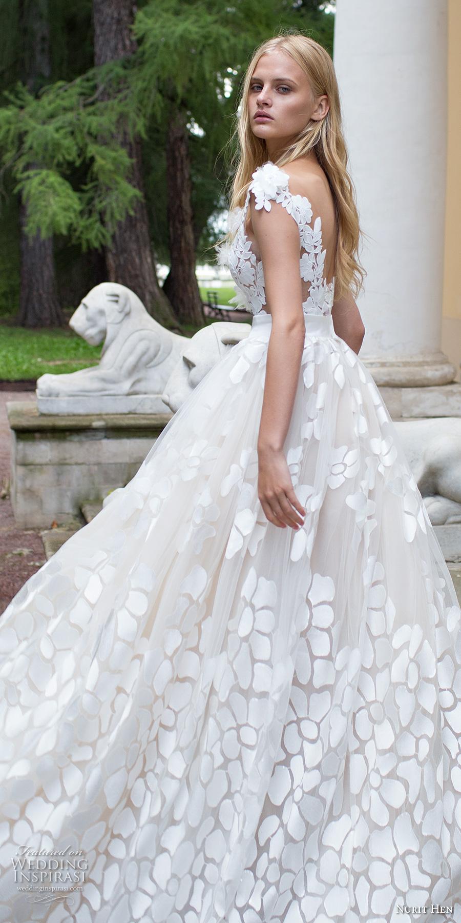 nurit hen 2017 bridal cap sleeves deep v neck full embellishment romantic a line ball gown wedding dress open v back sweep train (1) zbv