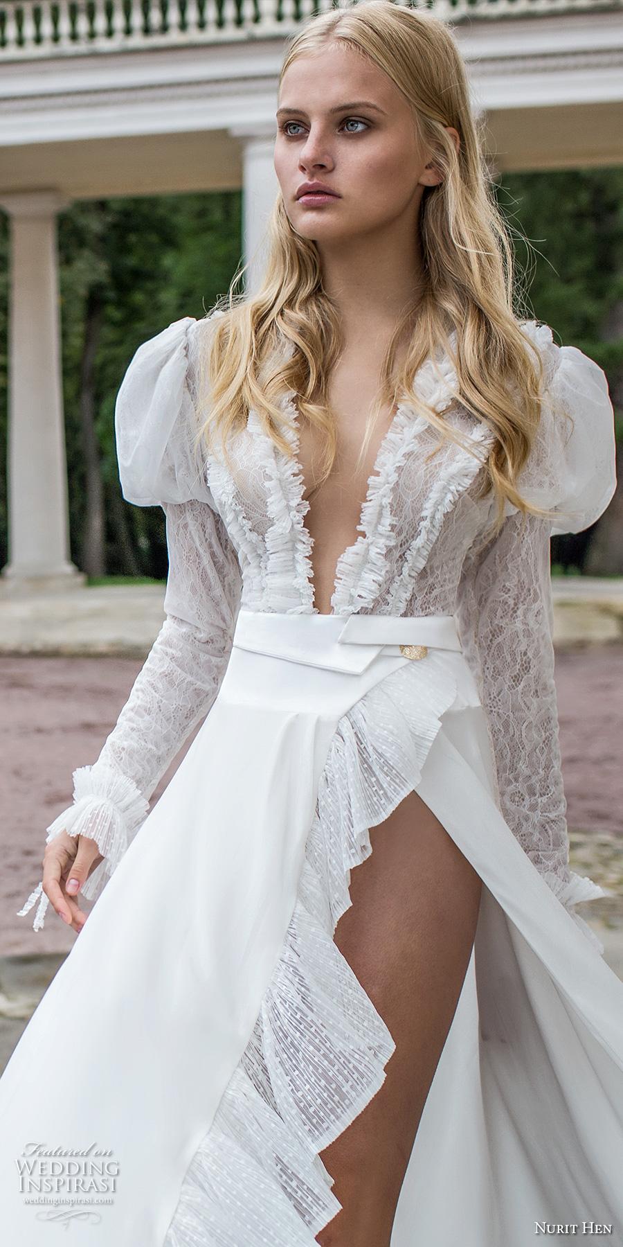 nurit hen 2017 bridal long puff sleeves deep plunging v neck sexy unconventional flowy high slit a line wedding dress chapel dress (3) zv