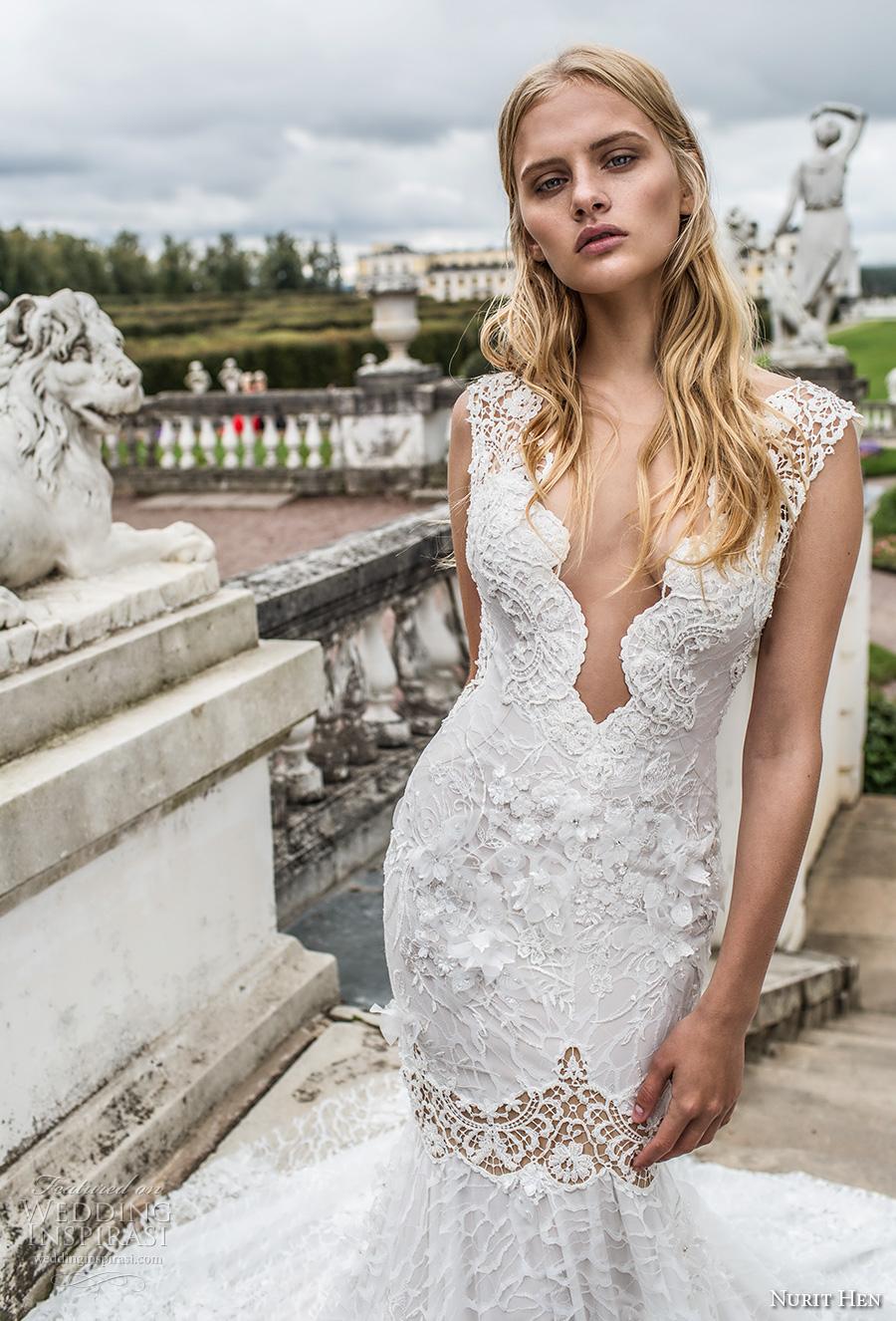 nurit hen 2017 bridal sleeveless deep plunging v neck full embellishment elegant sexy fit and flare wedding dress open v back chapel train (2) zv