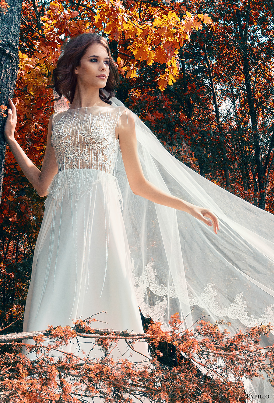 papilio 2017 bridal sleeveless bateau neckline heavily embellished bodice romantic a line wedding dress covered lace back chapel train (hen harrier) zv