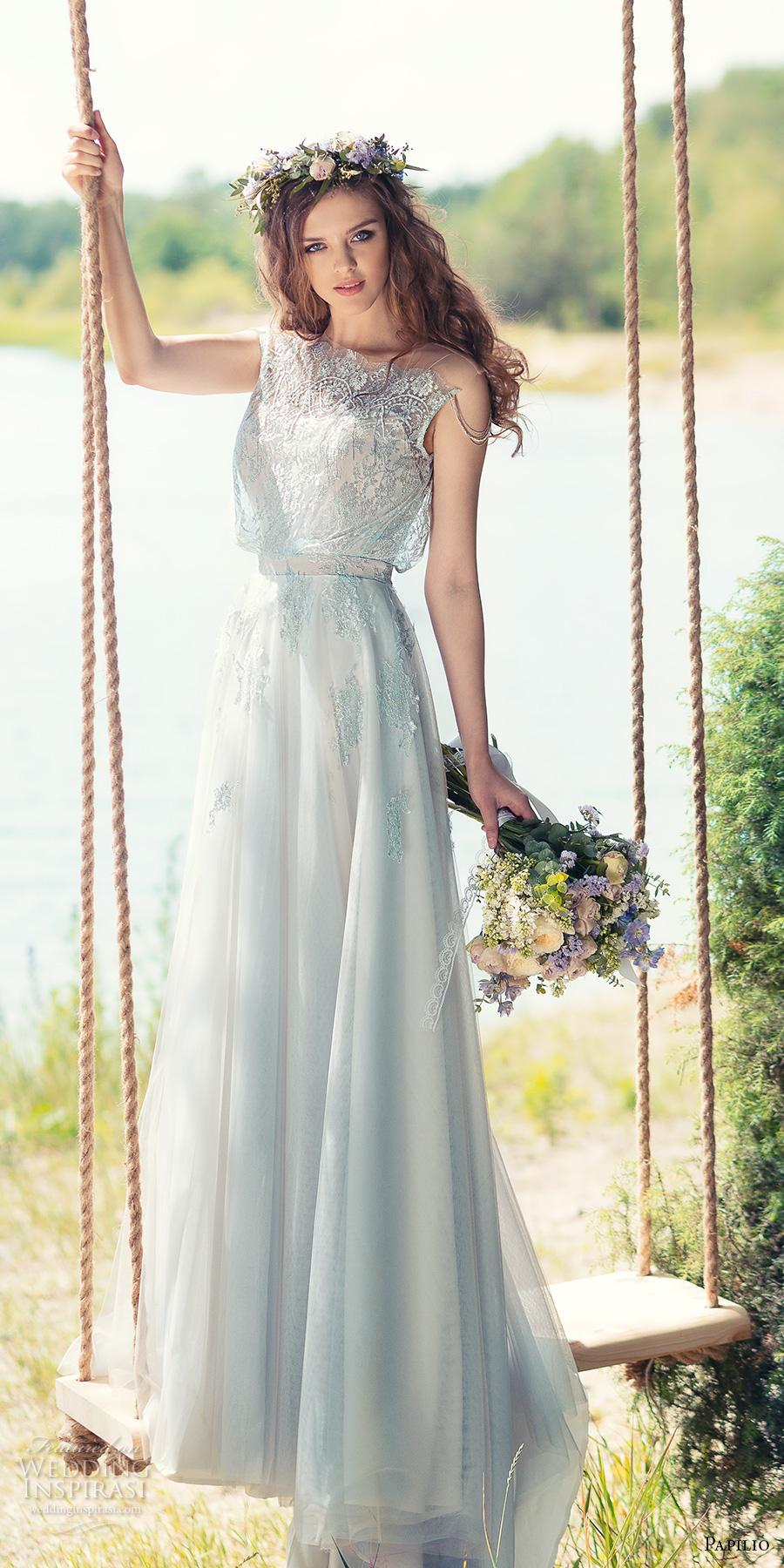 papilio 2017 bridal sleeveless jewel neck heavily embellished bodice blouson romantic modified a line wedding dress covered lace back chapel train (tomtit) mv
