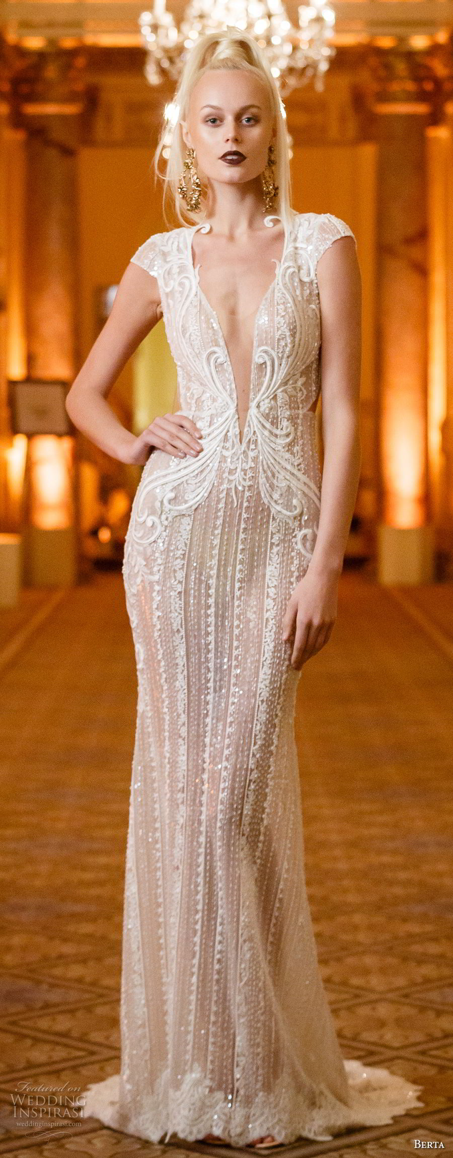 berta spring 2018 bridal cap sleeves deep plunging v neck full embellishment elegant sexy glamorous sheath wedding dress keyhole back sweep train (07) mv