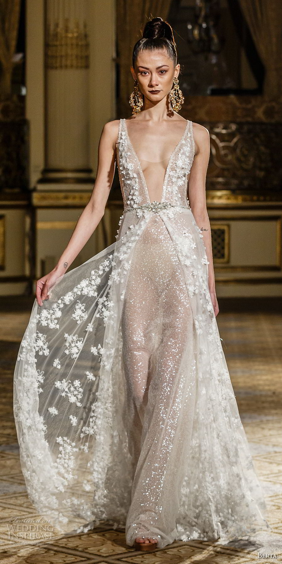 berta spring 2018 bridal sleeveless deep plunging v neck full embellishment sexy romantic flowy a line wedding dress open scoop back sweep train (06) mv
