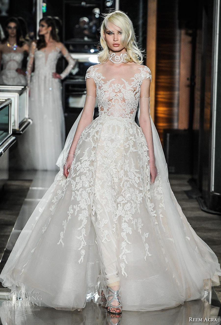 reem acra spring 2018 bridal cap sleeves scoop neckline full embellishment glamorous princess ball gown wedding dress lace back chapel train (19couture) mv
