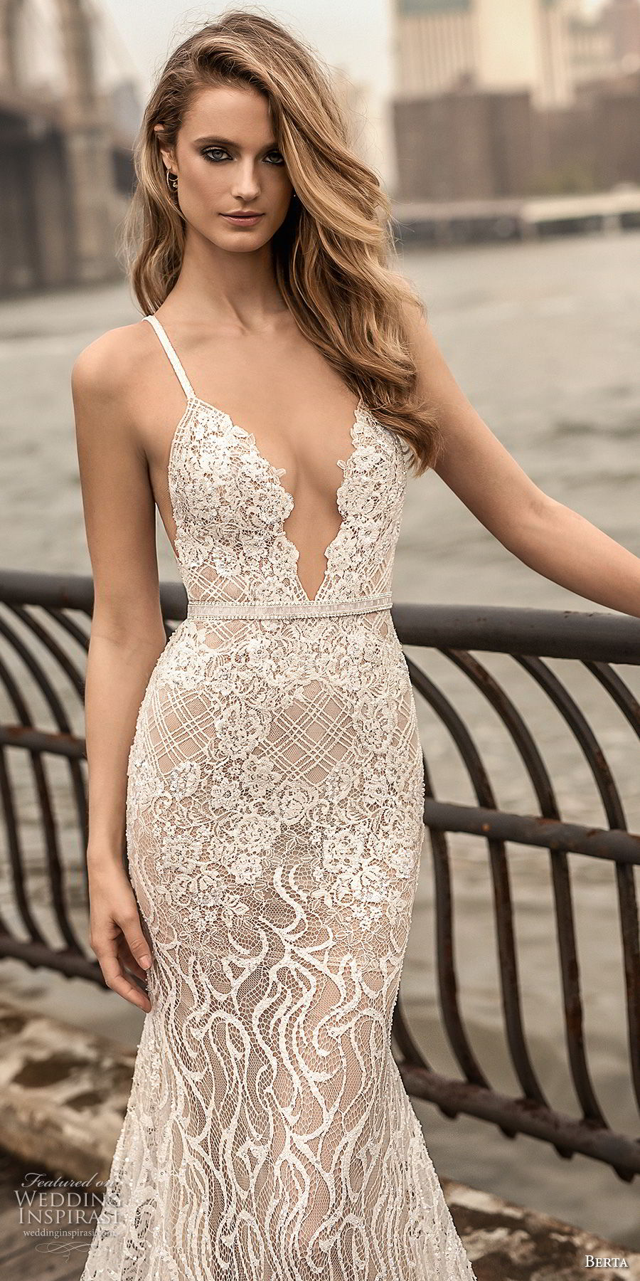 berta spring 2018 bridal spaghetti strap deep plunging sweetheart neckline full embellishment sexy elegant fit and flare wedding dress open scoop back chapel train (6) zv