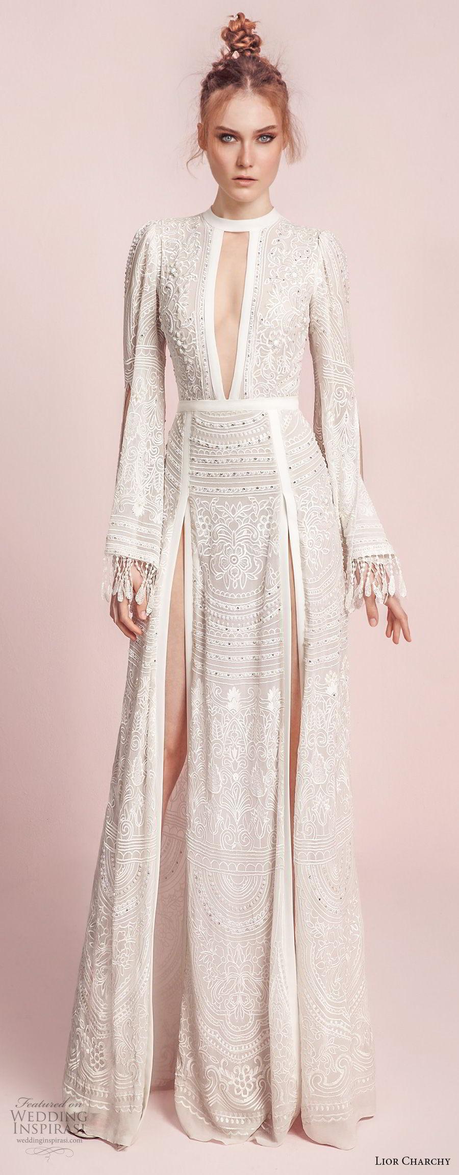 lior charchy spring 2017 bridal long bell sleeves keyhole neck full embellishment double side slit elegant sexy a line wedding dress sweep train (10) mv