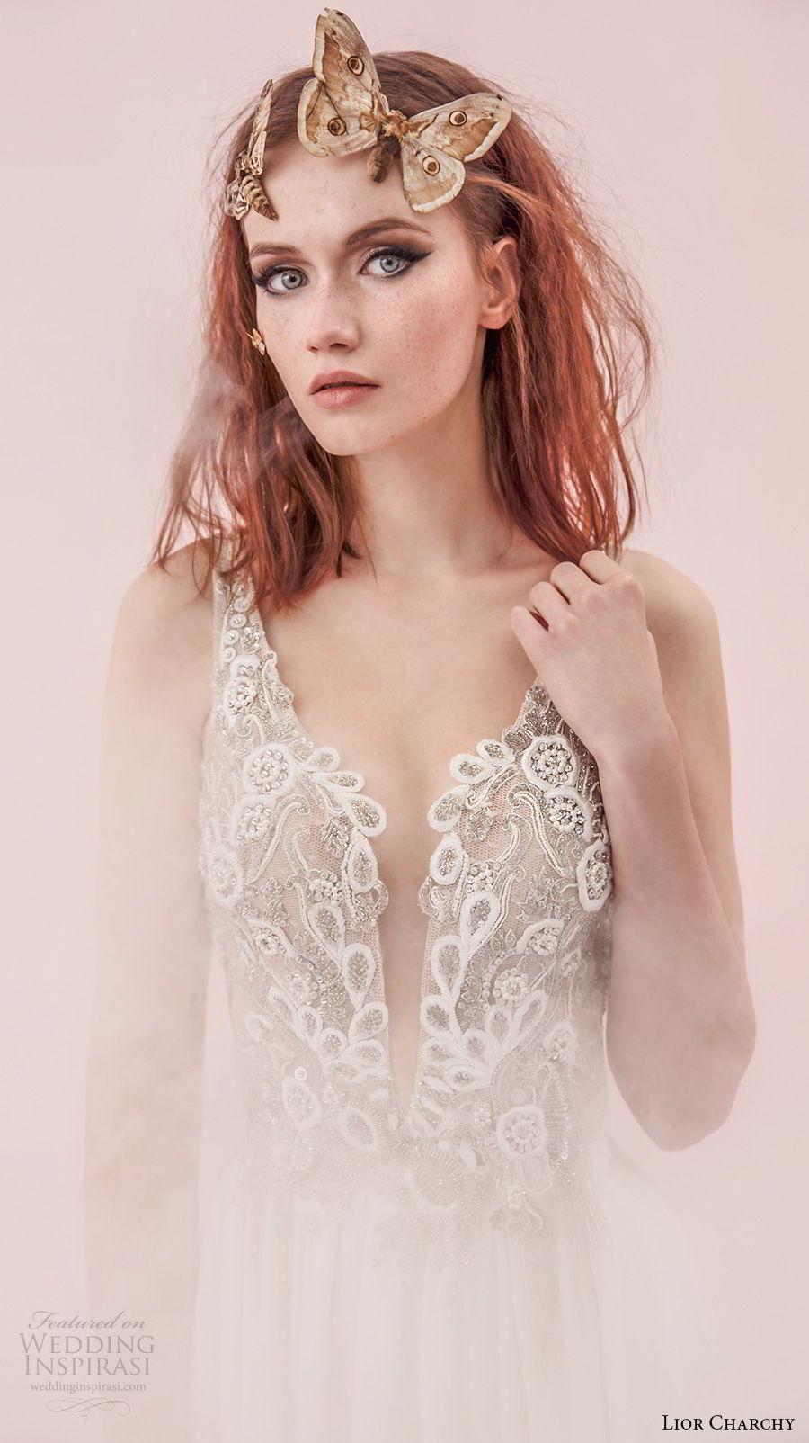 lior charchy spring 2017 bridal sleeveless deep plunging v neck heavily embellished sexy elegant sheath a line wedding dress (4) mv