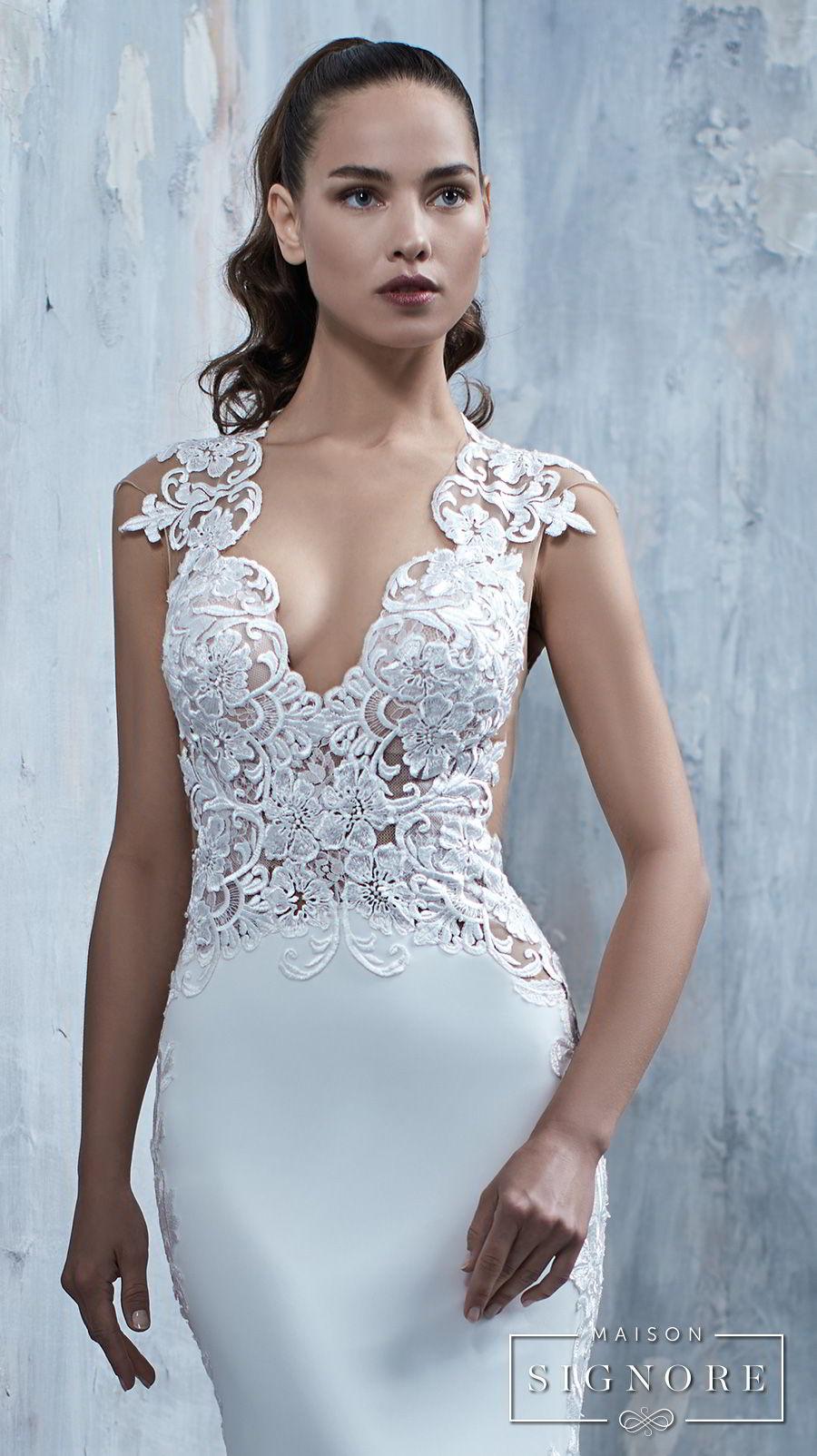 maison signore 2018 bridal cap sleeves deep v neck heavily embellished elegant fit and flare wedding dress chapel train (tessa) bv