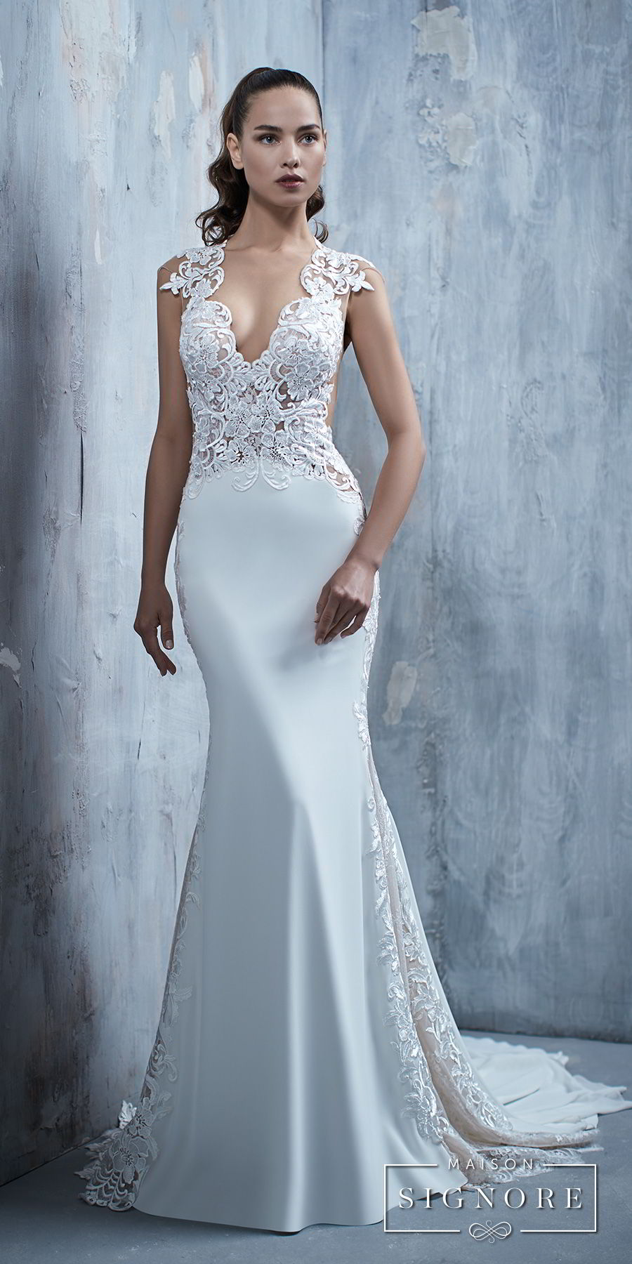 maison signore 2018 bridal cap sleeves deep v neck heavily embellished elegant fit and flare wedding dress chapel train (tessa) mv